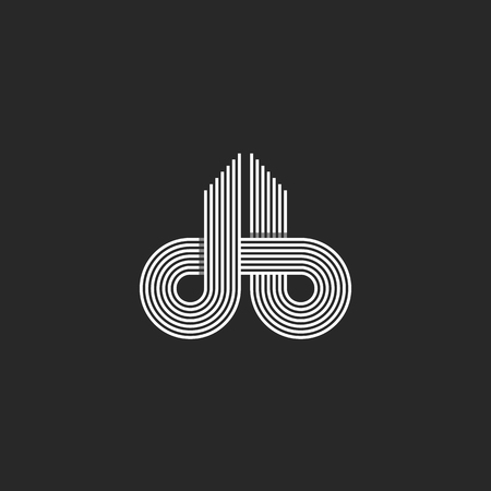 Letters logo DB monogram, offset line overlapping style, mockup emblem business card, black and white design element initials intersection path