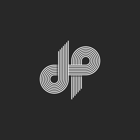 Logo DP brief monogram, offset dunne lijn stijl, overlappend ontwerp element, D en P pair symbool, lineaire emblem template