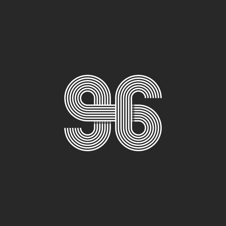 offset: Number 96 creative offset thin line monogram, modern mockup print t-shirt Illustration