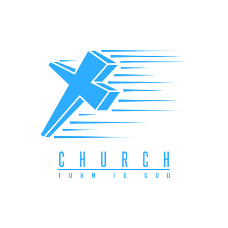 catholicism: Cross church, spirituality religion symbol blue mockup, christian gospel design element Illustration