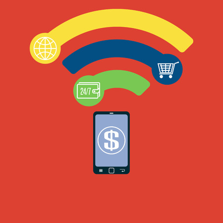 mobile communication: Mobile payment flat concept Near Field Communication NFC creative idea, smartphone online contactless banking Illustration