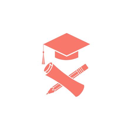mortarboard: Graduate education graduation symbols diploma, pencil, mortarboard, university student ceremony emblem