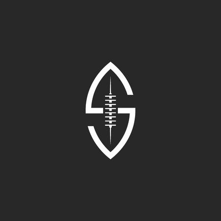 black american: Football ball S letter, creative idea rugby sport team emblem template