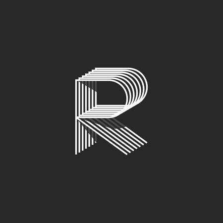 Isométrique lettre R icône mockup, emblème initial monogramme moderne et linéaire, forme géométrique mince ligne