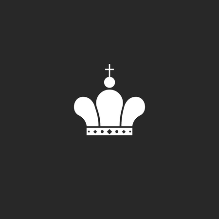 czar: Icon crown icon mockup jewel, king or queen royal symbol, black and white vintage design element