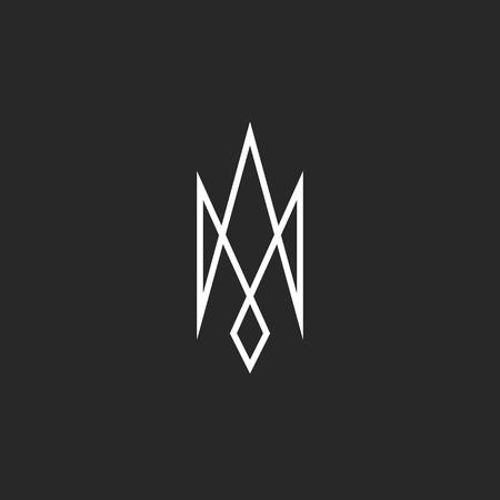 emblem of ukraine: Monogram trident icon mockup, creative abstract modern outline Ukraine emblem, srossing thin line geometric shape