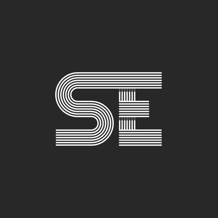 Moderne icoon SE brievenmonogram, kruisende dunne lijn stijl trouwkaart embleem mockup