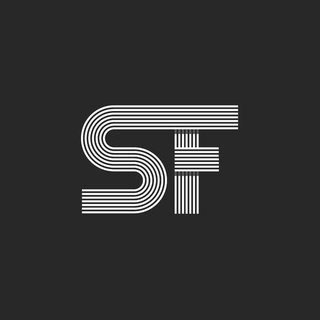 line design: Letters SF icon monogram, capital S linked F overlapping style, business card linear emblem mockup