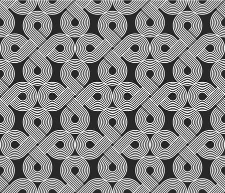 symmetry: Loops seamless pattern, repeating symmetry ornament, wrapping line circles background, graphic design element