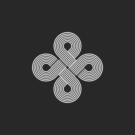 infinite loop: Monogram infinity icon, geometric linear loop design element, parallel thin line infinite art decoration, harmony emblem Illustration