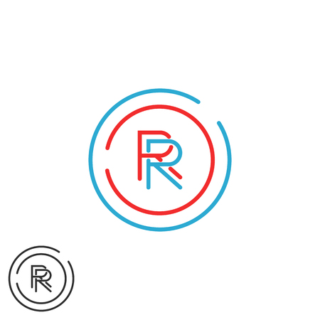 fame: Combination hipster monogram letter R group, overlapping thin line circle fame business card emblem