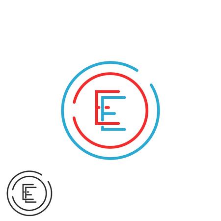 ee: Letter E monogram, combination EE circle frame, red and blue outline business card emblem