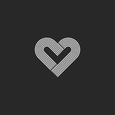 offset: Heart monogram wedding invitation decoration design element, offset parallel line geometric shape Illustration