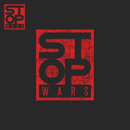 anti war: Stop war lettering, grunge words t-shirt red print pacifism message, protest poster mockup Illustration