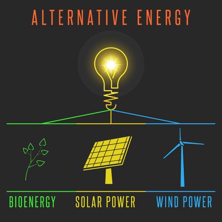 SELF HEALING: Alternative energy concept, solar battery windmill plant self-healing power source, light lamp world electric resource Earth Illustration