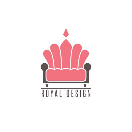 comfort: Furniture sofa, interior design creative mockup emblem shape crown, comfort divan icon