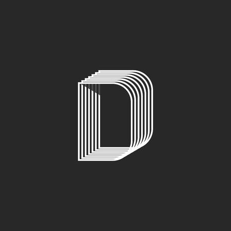 offset: Linear letter D monogram, offset parallel geometric line, creative graphic emblem