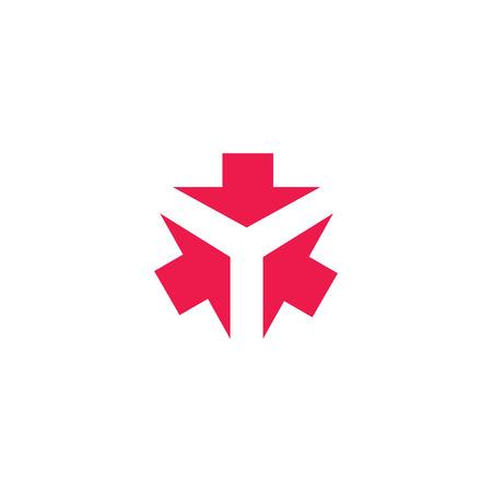 Drie pijlen vormen letter Y creatieve tech embleem, 3 cursor richting samenkomen in één punt, visitekaartje design element