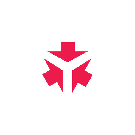 Three arrows form letter Y creative tech emblem, 3 cursor direction converge in one point, business card design element 向量圖像