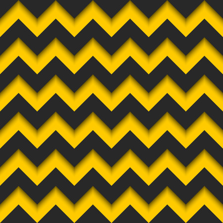 deepness: Abstract zigzag seamless pattern, black and yellow strips repeating sharp corners 3d background