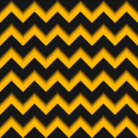 crankle: Black and yellow background 3D, fiber zigzag seamless pattern, modern carbon texture fabric Illustration