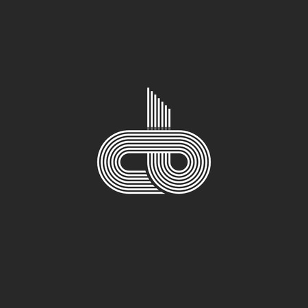 unification: Initials cb monogram, linked together c b letters mockup business card emblem, offset thin line style design element Illustration