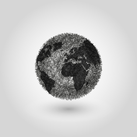 world earth day: Abstract Globe planet Earth, concept global pollution planet, world globalization grey background, black and white design element Ecological poster World Earth Day