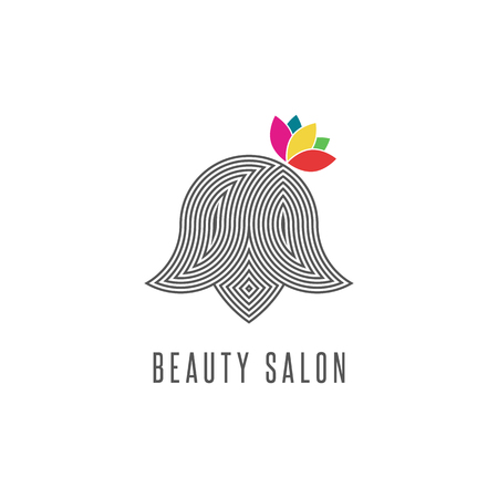 health beauty: Hairdressing salon , silhouette abstract face woman with flower, line monogram barbershop emblem, modern hairstyle creative beauty parlor icon Illustration