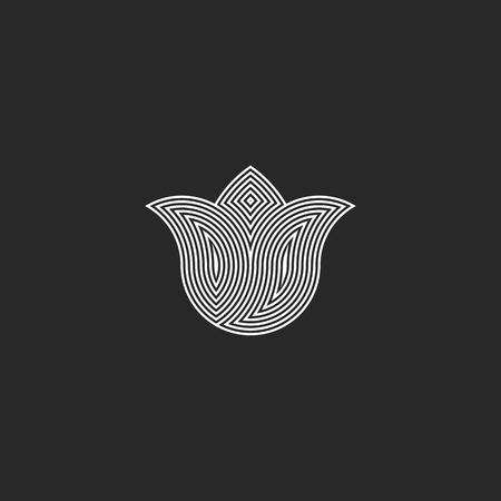Tulip flower monogram, sacred geometry esoteric harmony  graphic emblem, balance energy buddhism sign