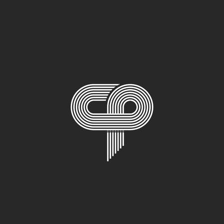 unification: Initials cp letter, parallel thin line monogram union c p symbol  business card emblem, hipster association sign
