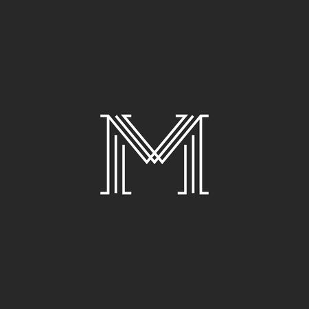 Monogram letter M logo mockup, thin line decoration hipster initial, outline black and white graphic wedding invitation emblem
