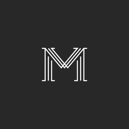 Monogram letter M logo mockup, thin line decoration hipster initial, outline black and white graphic wedding invitation emblem