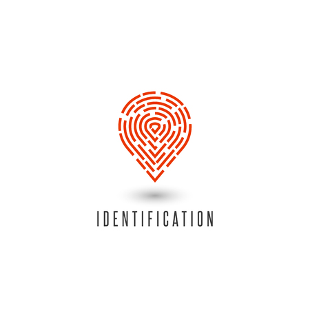 detective agency: Identification personal fingerprint creative idea detective agency logo, gps navigation pin icon Illustration