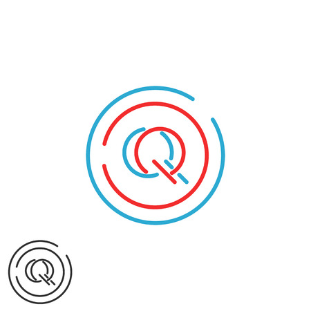 initials: Letters initials QQ logo monogram, combination two letters Q Q circle frame, mockup business card emblem