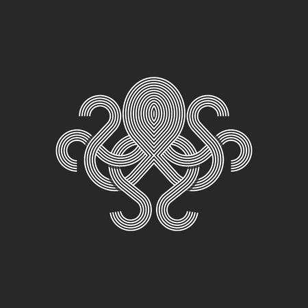 Logotipo de la silueta del pulpo monograma, marisquería maqueta emblema gráfico lineal, camiseta de la impresión estilo de línea de intersección Logos