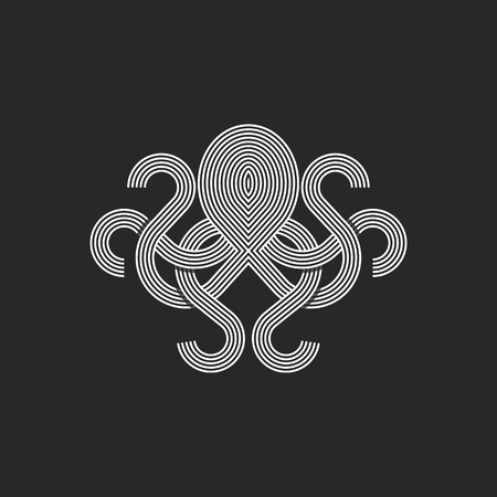 Silhouette octopus logo monogram, mockup seafood restaurant linear graphic emblem, print t-shirt intersection line style Illustration