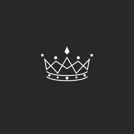 coronation: Royal symbol icon, monogram crown , beauty tiara princess, medieval king coronation emblem