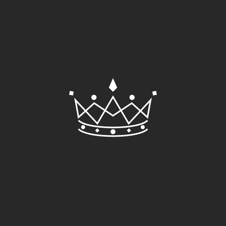 Royal symbol icon, monogram crown , beauty tiara princess, medieval king coronation emblem