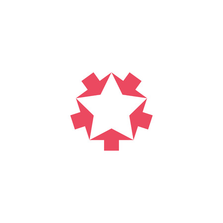 Convergent pink five arrows mockup, converge form shape star, creative geometric graphic symbol teamwork