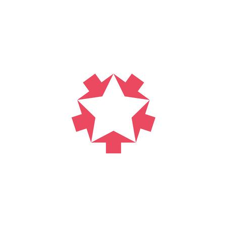 Convergente roze vijf pijlen mockup, convergeren vorm ster vorm, creatief geometrisch grafisch symbool teamwork