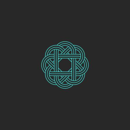 Sacré géométrique, intersection turquoise ligne hippie emblème celtic, symétrie chevauchement élément de conception graphique