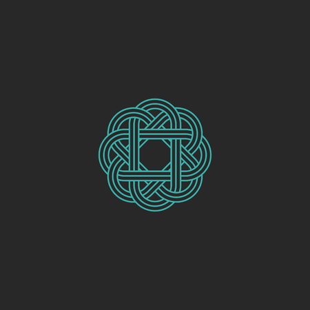 symmetry: Sacred geometric , turquoise intersection line hipster celtic emblem, overlapping symmetry graphic design element