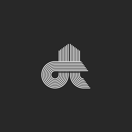 Monogram couple letters dt , hipster wedding invitation thin line emblem, modern initials business card decoration element Vettoriali