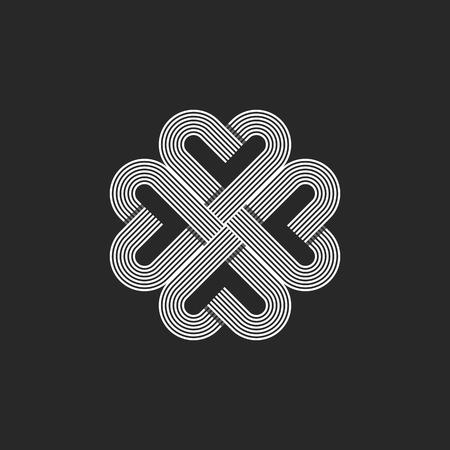 celtic background: Sacred geometric heart pattern , hipster monogram valentaine day t-shirt background, celtic wedding card emblem