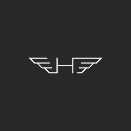 feathered: Feathered letter H, wingy monogram emblem, idea thin line car branding wings symbol
