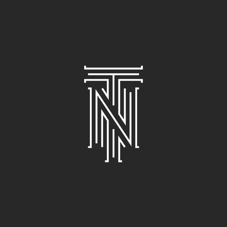 nt: Initials NT letters , hipster monogram boutique emblem, compound T N letters for wedding invitation, combination TN symbol for business card