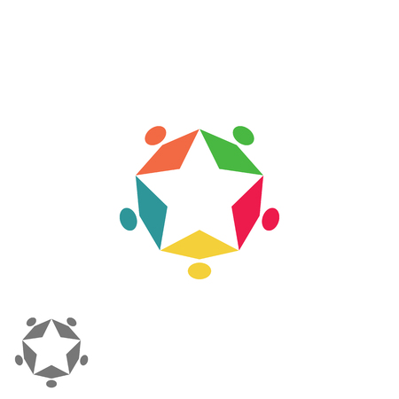camaraderie: Success business community partnership, teamwork group abstract colorful people form star, meeting family symbol