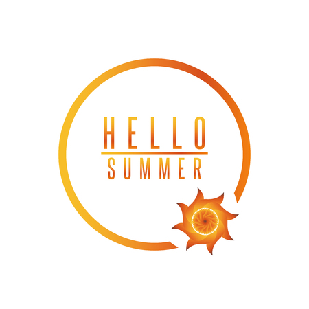funny travel: Hello summer poster quote sun lettering circle frame, funny travel banner background Illustration
