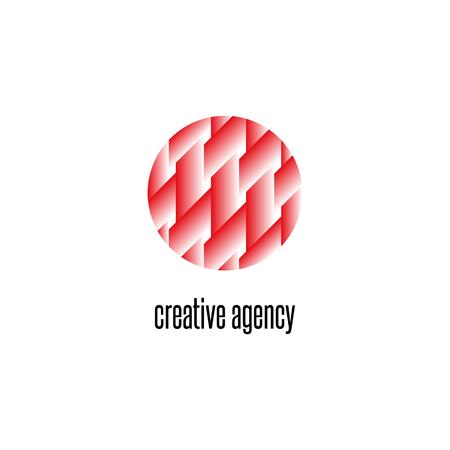 Interweaving lines pattern circle icon, intersection geometric shape design element, creative agency emblem