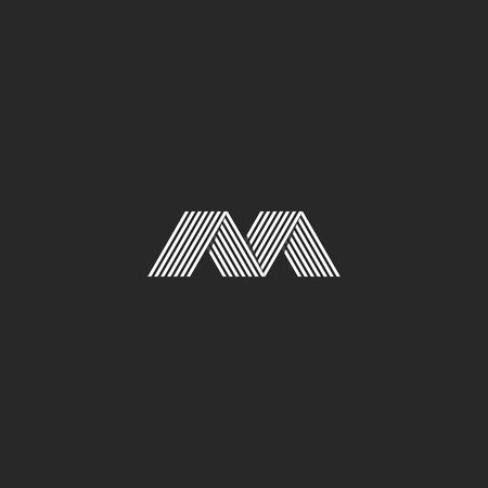 intersect: M simple monogram letter, stylish mockup business card initial, technology trendy emblem Illustration
